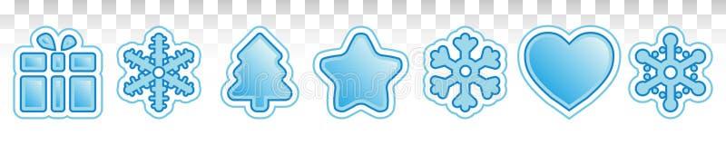 Set śliczne boże narodzenie ikony Błękitni zima rysunki Płatek śniegu, prezenty i choinki z cieniem, wektor EPS10 royalty ilustracja