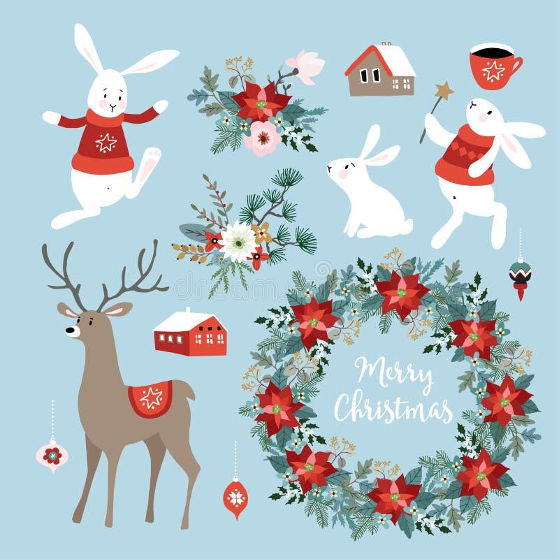Set śliczne Bożenarodzeniowe sztuki z królikami, reniferem, zima kwiatami, Bożenarodzeniowym wiankiem i piłkami, Skandynawski pro ilustracja wektor