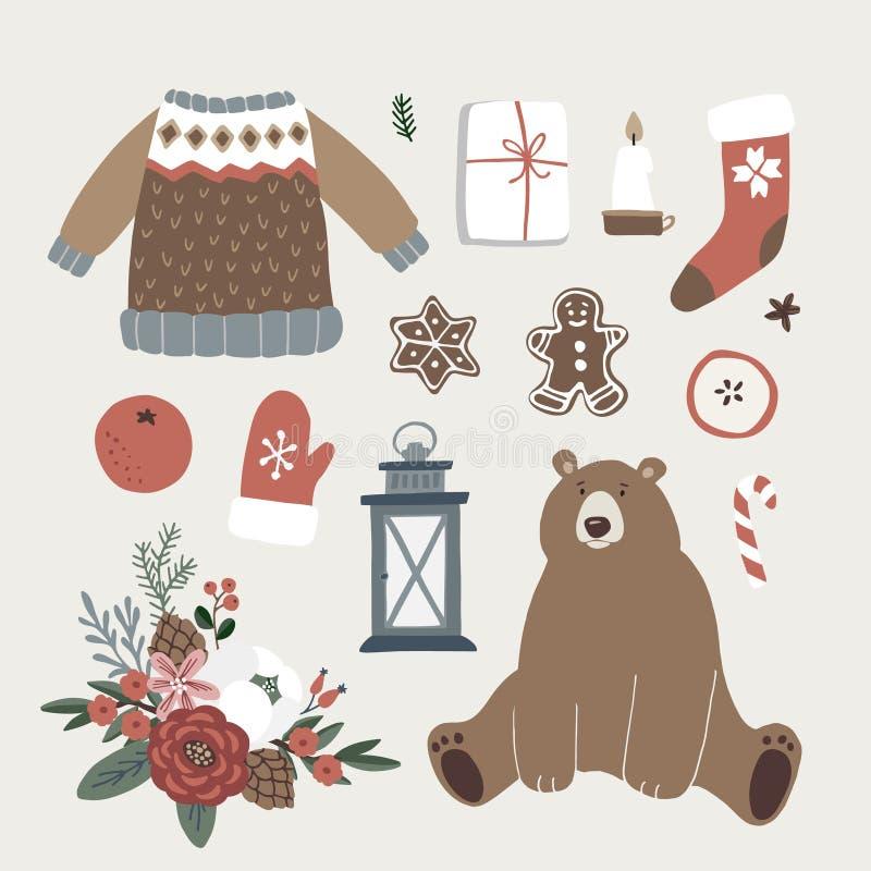 Set śliczne Bożenarodzeniowe zwierzęcia, styl życia i jedzenia ikony, Niedźwiedź, trykotowy pulower, glowes, Santa skarpety, prez ilustracja wektor