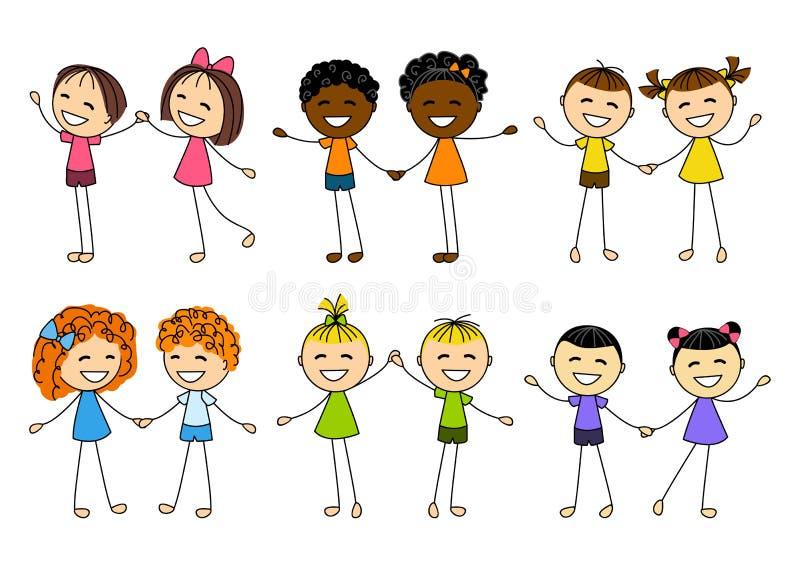 Set śliczne dzieciak pary royalty ilustracja