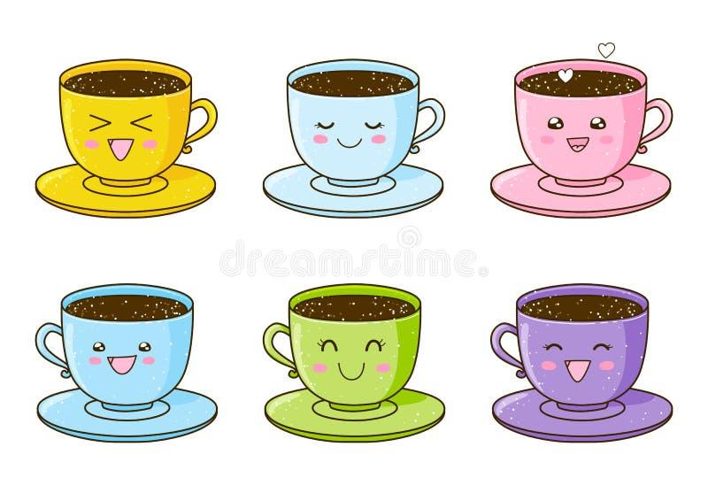 Set śliczne filiżanki kawy ilustracja wektor