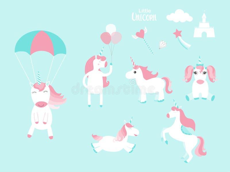 Set śliczne jednorożec i elementy dla twój projekta, bajka, ikony, zwierzę, koń, Wektorowe ilustracje royalty ilustracja