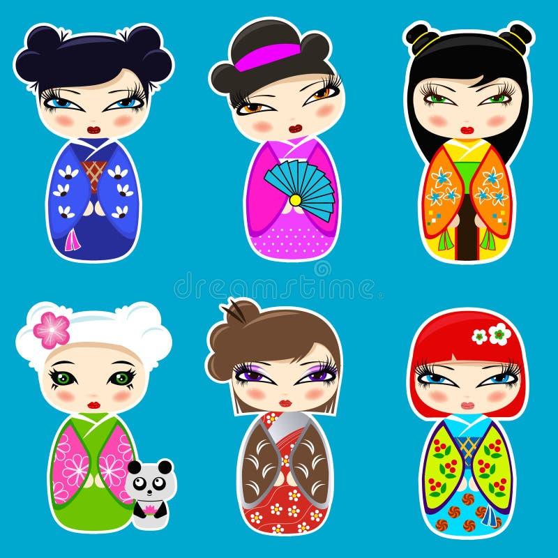 Set śliczne kokeshi lale ilustracji