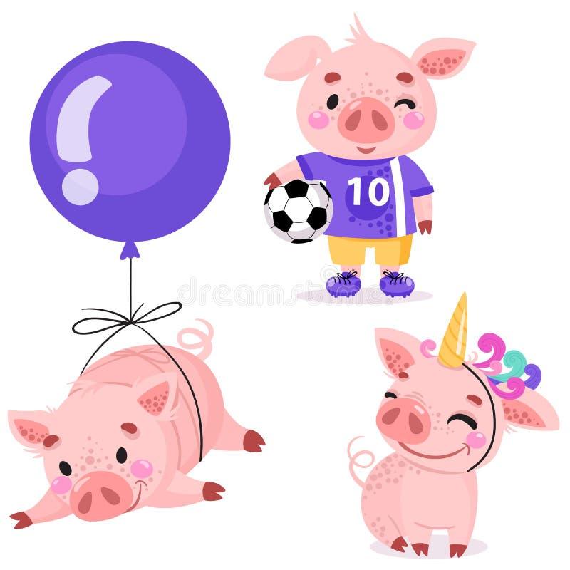 Set śliczne kreskówek świnie royalty ilustracja