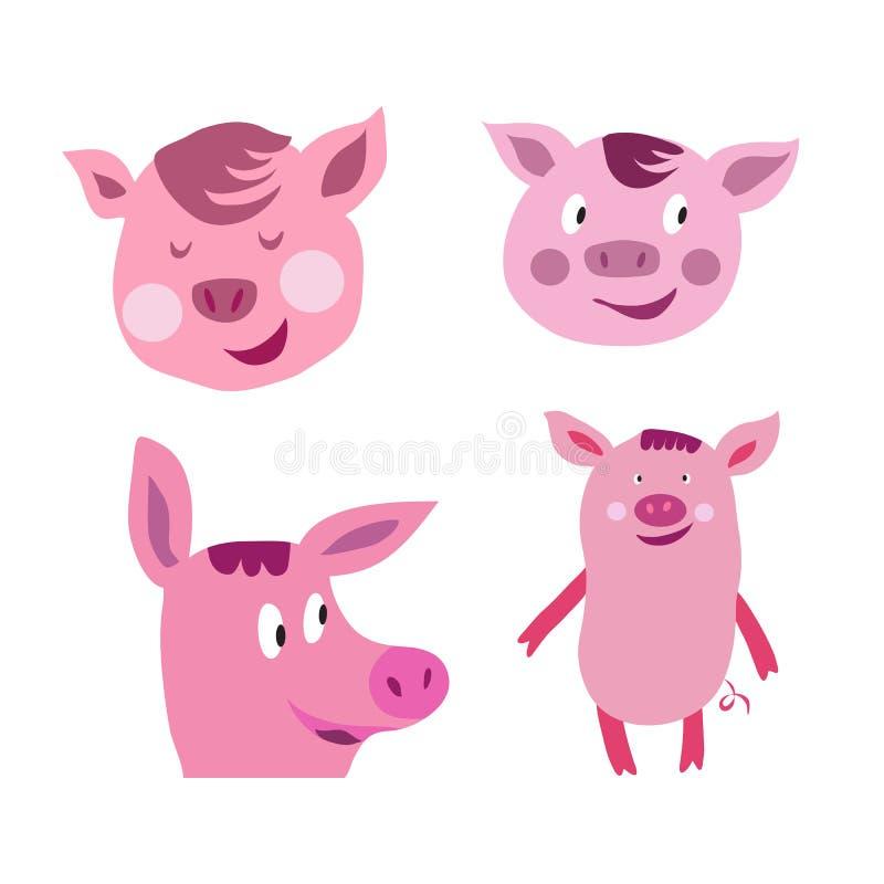 Set śliczne kreskówek świnie ilustracji