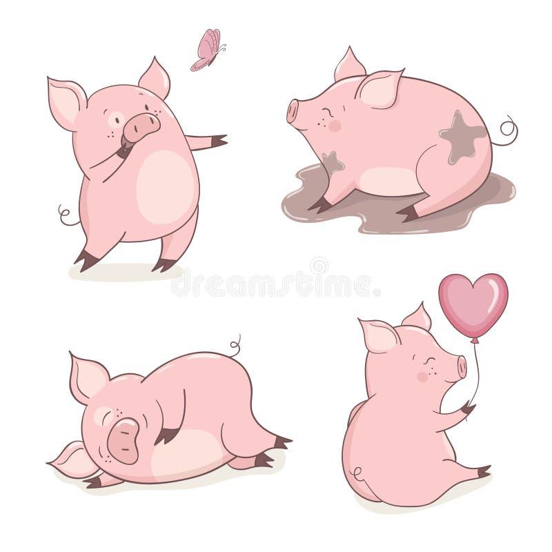 Set śliczne kreskówek świnie odizolowywać na bielu ilustracji