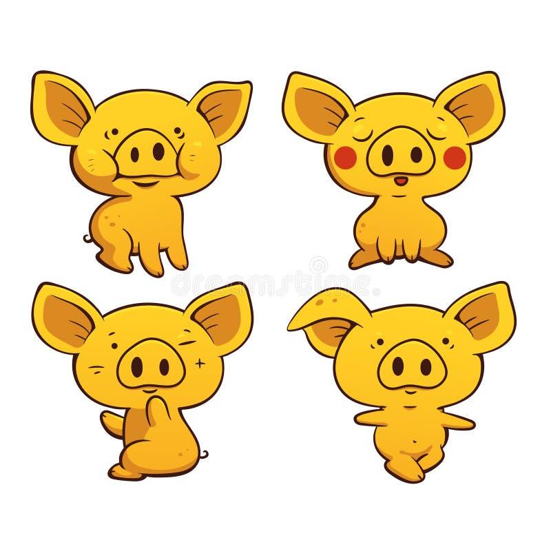 Set śliczne kreskówek świnie Wektor barwiona ilustracja ilustracji
