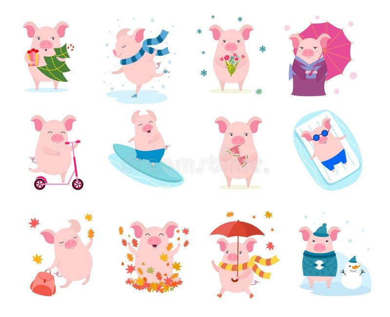 Set śliczne kreskówek świnie Wektorowa ilustracja dla kalendarza, karta, sztandar, pocztówkowy i printable ilustracja wektor