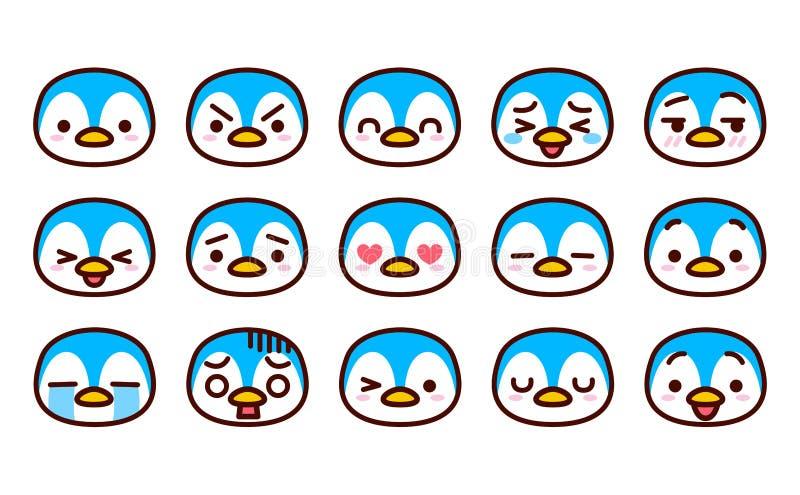 Set Śliczne kreskówka pingwinu ikony Odizolowywać ilustracja wektor
