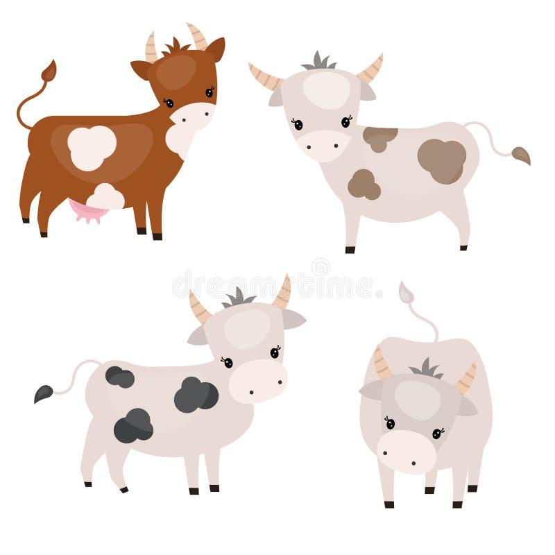Set śliczne krowy royalty ilustracja