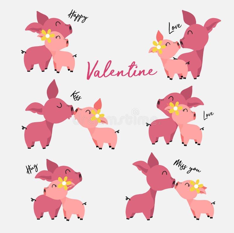 Set śliczne męskie i żeńskie świnie w miłości, valentine&-x27; s dzień royalty ilustracja