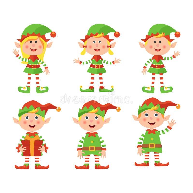 Set śliczne małe Bożenarodzeniowe dziewczyny i chłopiec elf ono uśmiecha się, wektorowa ilustracja odizolowywająca na białym tle royalty ilustracja
