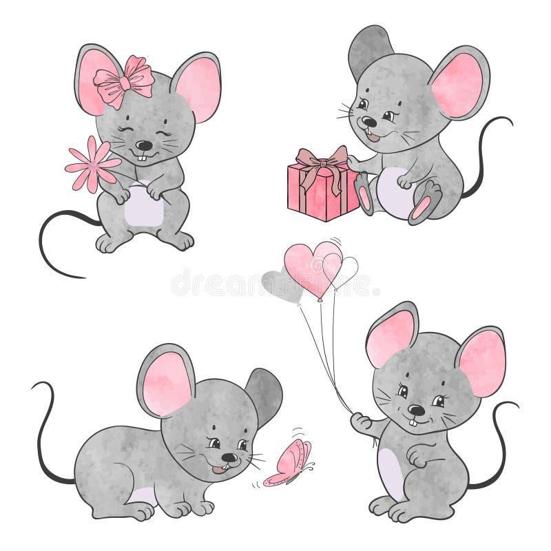 Set śliczne małe kreskówek myszy Wektorowa akwareli myszy kolekcja ilustracja wektor