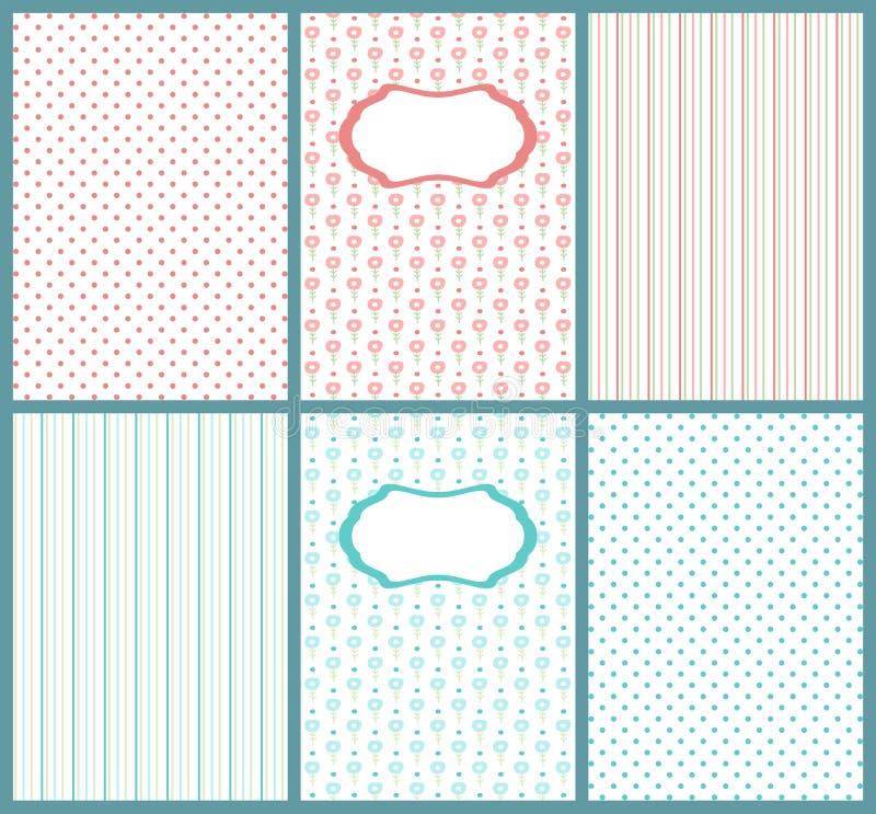 Set śliczne pastelowe karty Szablony dzieciak pocztówka, mogą używać dla dziecko prysznic zaproszeń royalty ilustracja