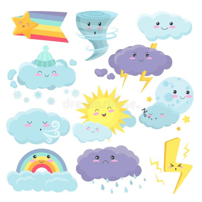 Set śliczne pogodowe ikony z różnymi emocjami wyrażeniowymi Wektor kreskówki vidgets pogodowi majchery ustawiający royalty ilustracja