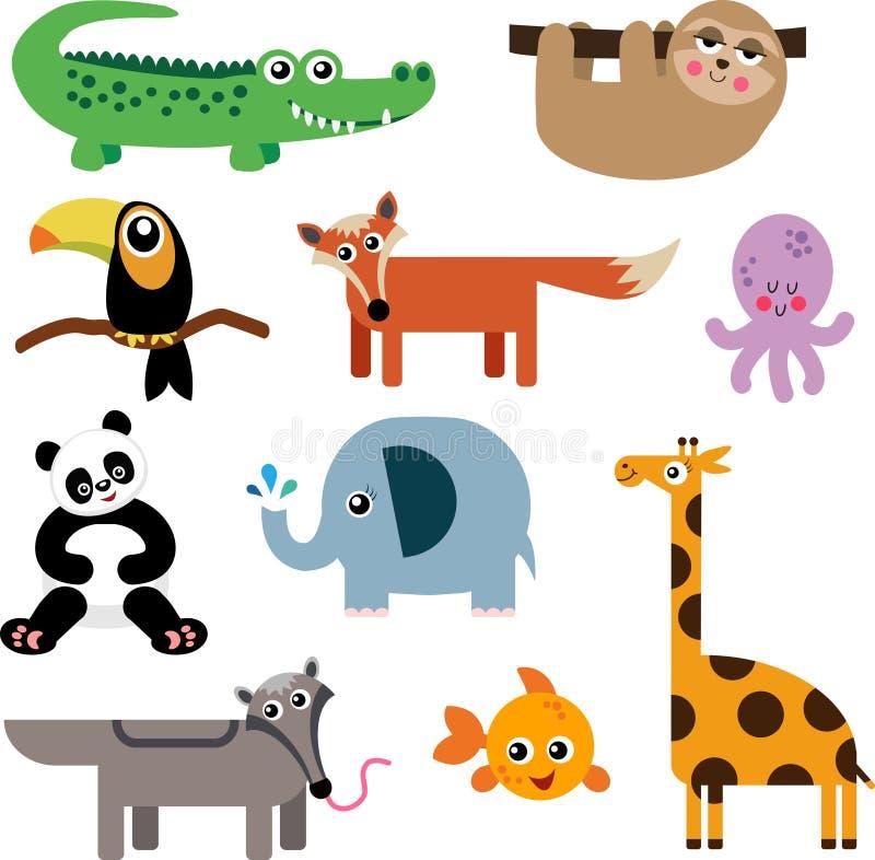 Set Śliczne Zwierzęce ikony royalty ilustracja