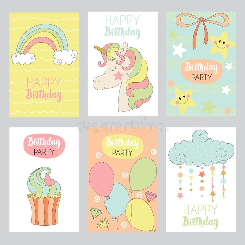 Set ślicznego dziecka urodzinowe karty ilustracji