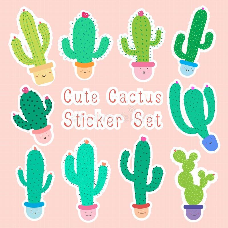 Set ślicznej kreskówki kaktusowi majchery z szczęśliwymi twarzami w garnkach, Kawaii kaktus dla dzieciaków ilustracji