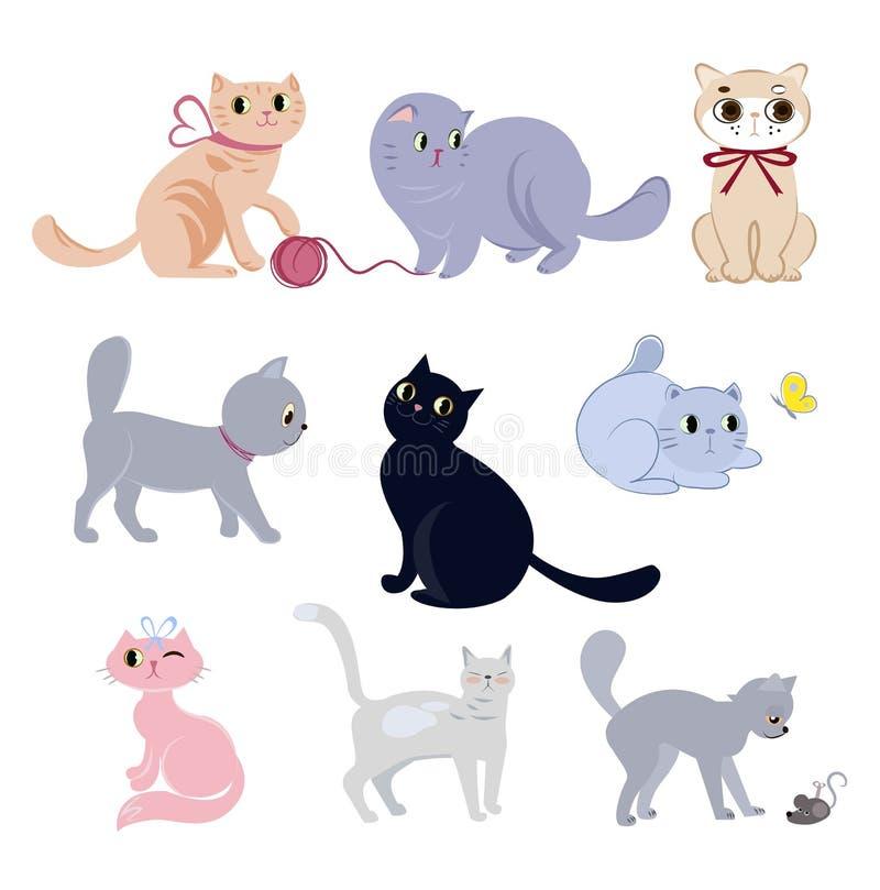 Set śliczni śmieszni koty ilustracja wektor