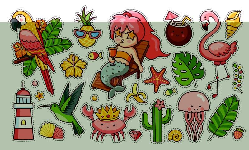 Set śliczni śmieszni lato majchery Syrenka z koktajlem, flaming, papuga, hummingbird, krab w koronie, tropikalnej royalty ilustracja