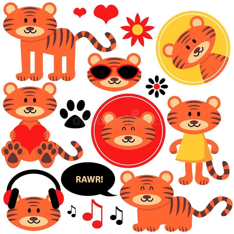 Set śliczni tygrysi lisiątka royalty ilustracja