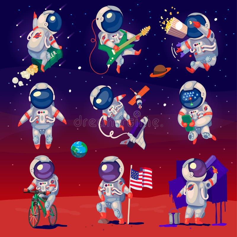 Set śliczni astronauta w przestrzeni ilustracja wektor