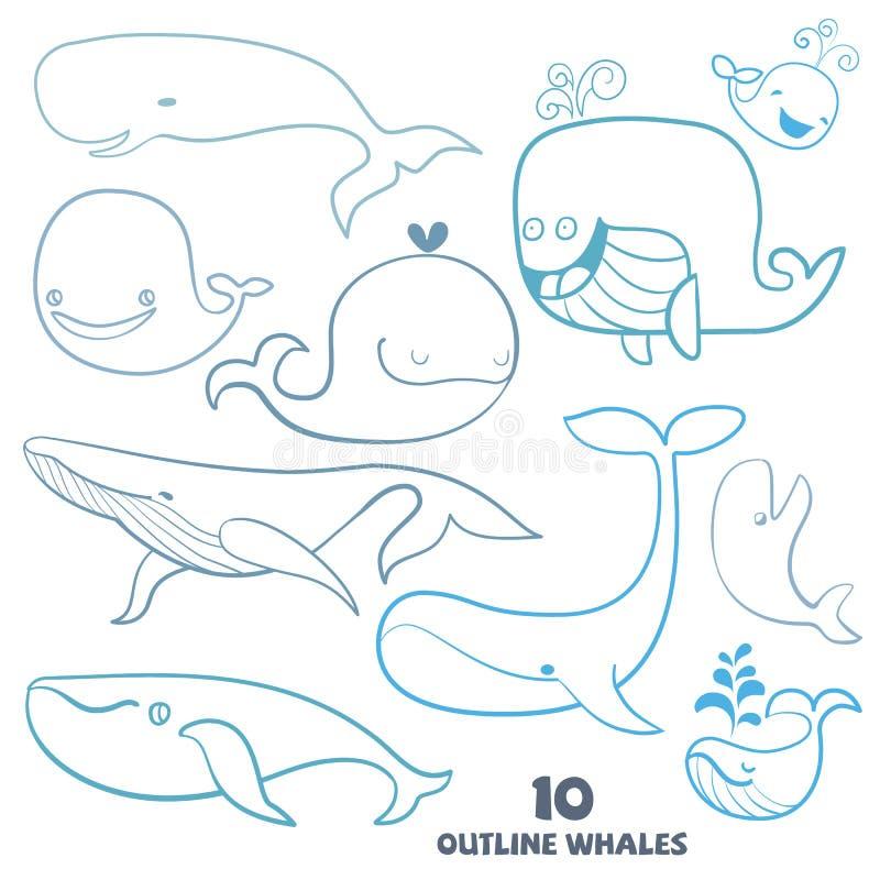 Set śliczni doodle wieloryba charaktery ilustracji