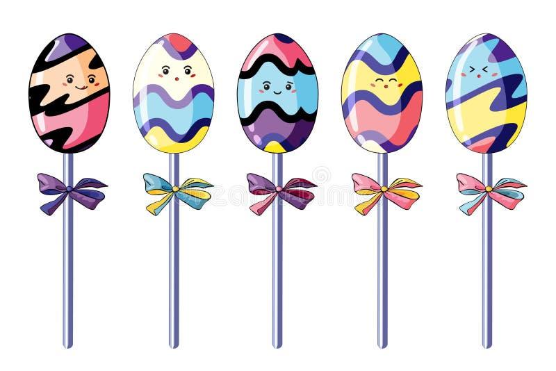 Set śliczni jajeczni kształtni cukierki w stylowym kawaii Jaskrawe multicolor i śmieszne kreskówek krople ilustracja wektor