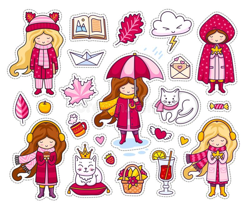 Set śliczni jesień majchery Kawaii małe dziewczynki, trzyma liść, kawa, książka ilustracja wektor