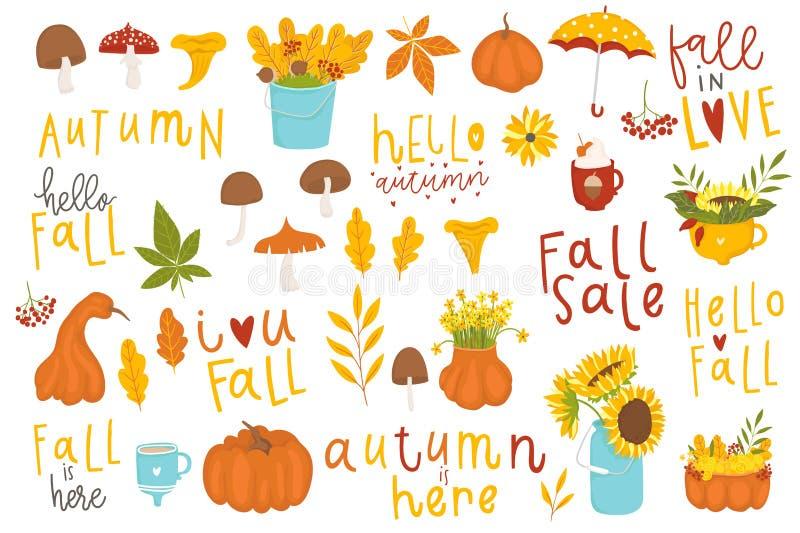 Set śliczni jesieni postać z kreskówki, rośliny i jedzenie, ilustracji
