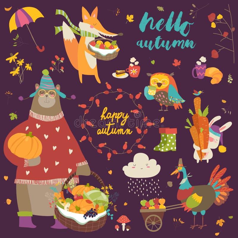 Set śliczni jesieni postać z kreskówki, rośliny i jedzenie, royalty ilustracja