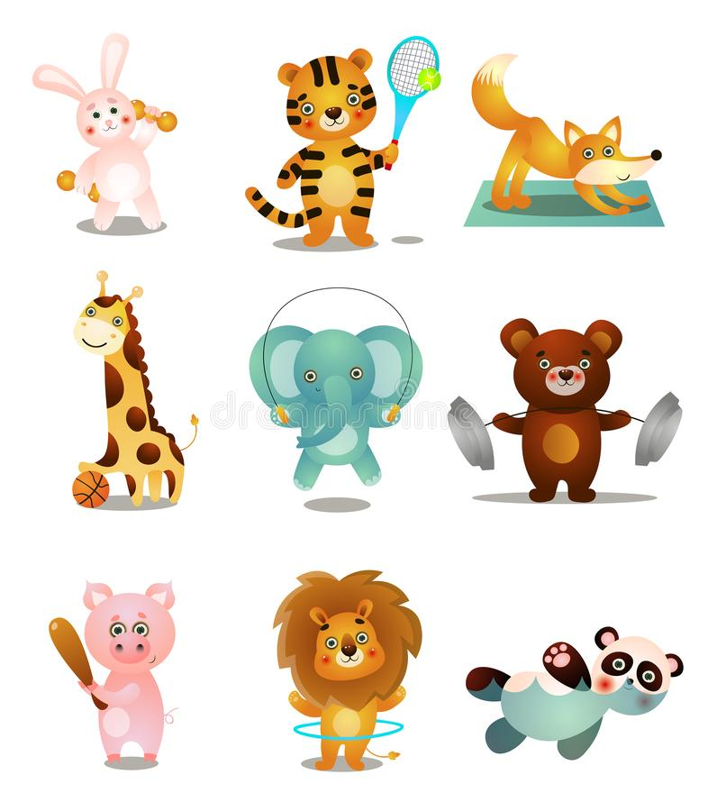 Set śliczni kolorowi bawić się zwierzęta w różnych sport aktywność, royalty ilustracja