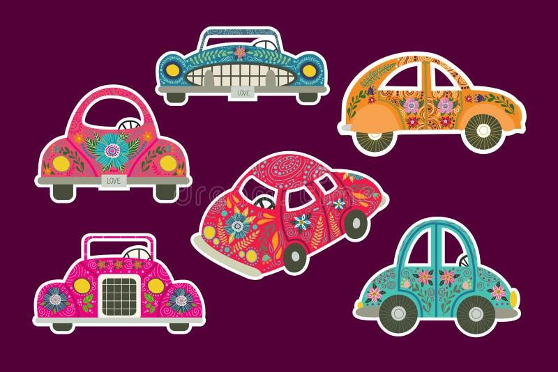 Set śliczni kolorowi samochodowi majchery w ludu stylu z mnóstwo kwiecistymi wzorami i elementami royalty ilustracja