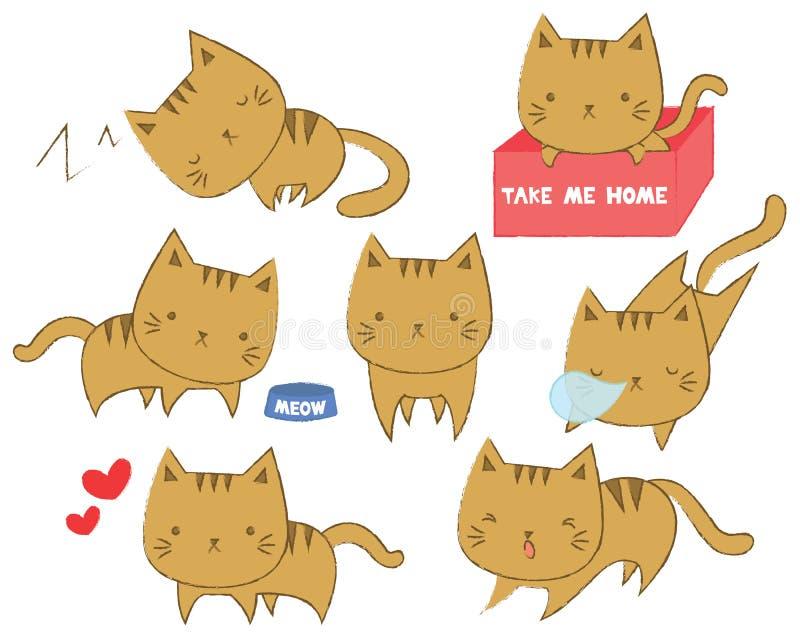 Set śliczni koty w różnorodnych pozycjach ilustracja wektor