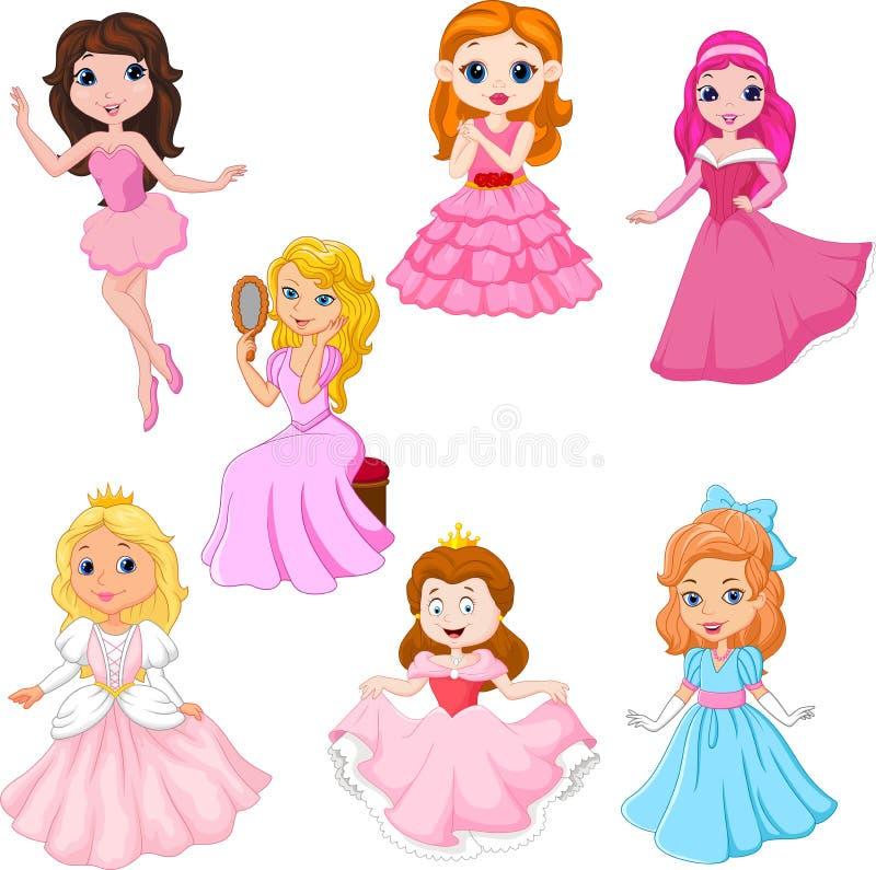Set śliczni kreskówek princesses odizolowywający na białym tle ilustracja wektor