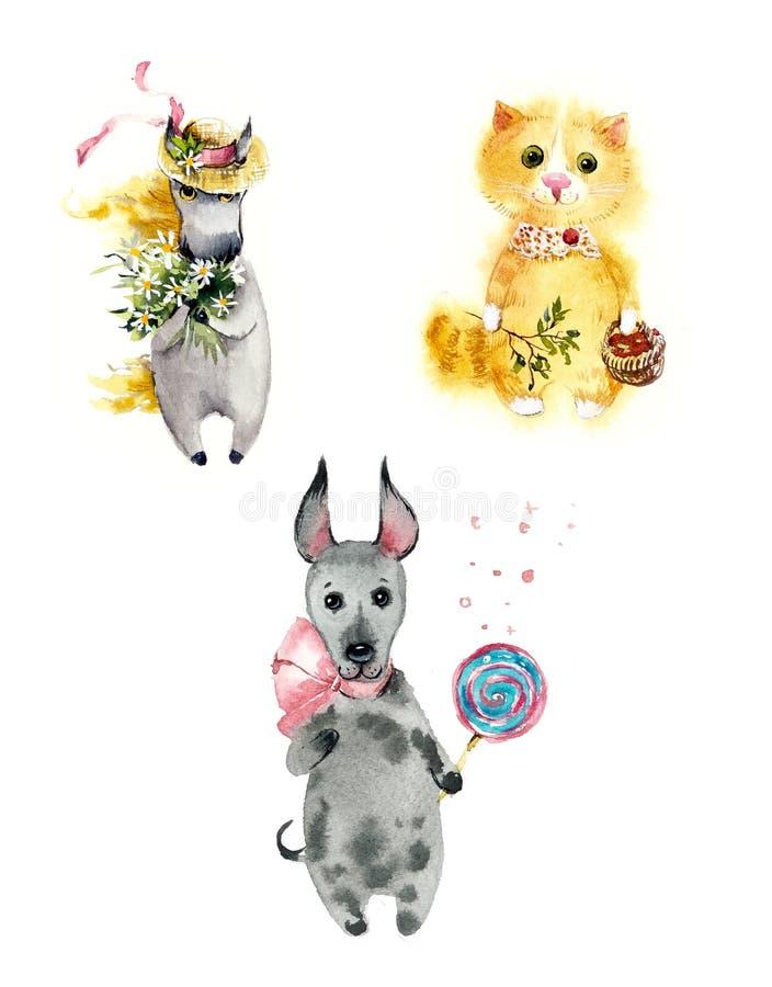 Set śliczni kreskówki lata zwierzęta Koń, czerwony puszysty kot i psina słodki ząb, Akwareli r?ka rysuj?ca ilustracja ilustracja wektor