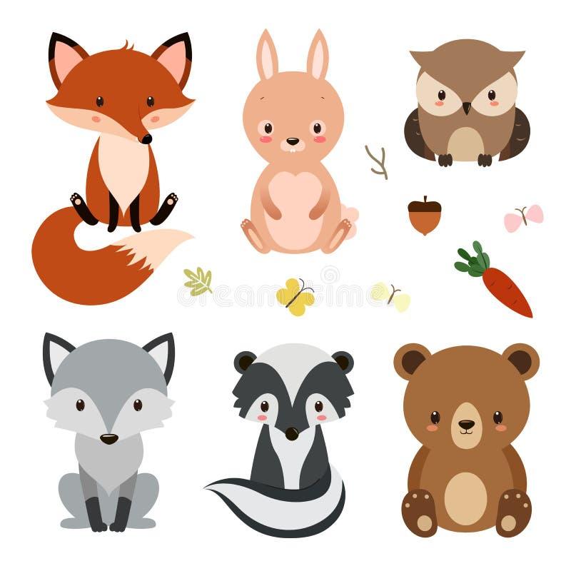 Set śliczni lasów zwierzęta odizolowywający na białym tle royalty ilustracja