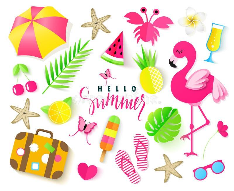 Set śliczni lato elementy Różowy flaming, tropikalni liście, parasol, krab, trzepnięcie klapy, ananas, wiśnia, orangeand inni ele royalty ilustracja
