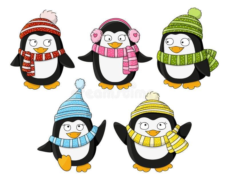 Set śliczni mali pingwiny royalty ilustracja