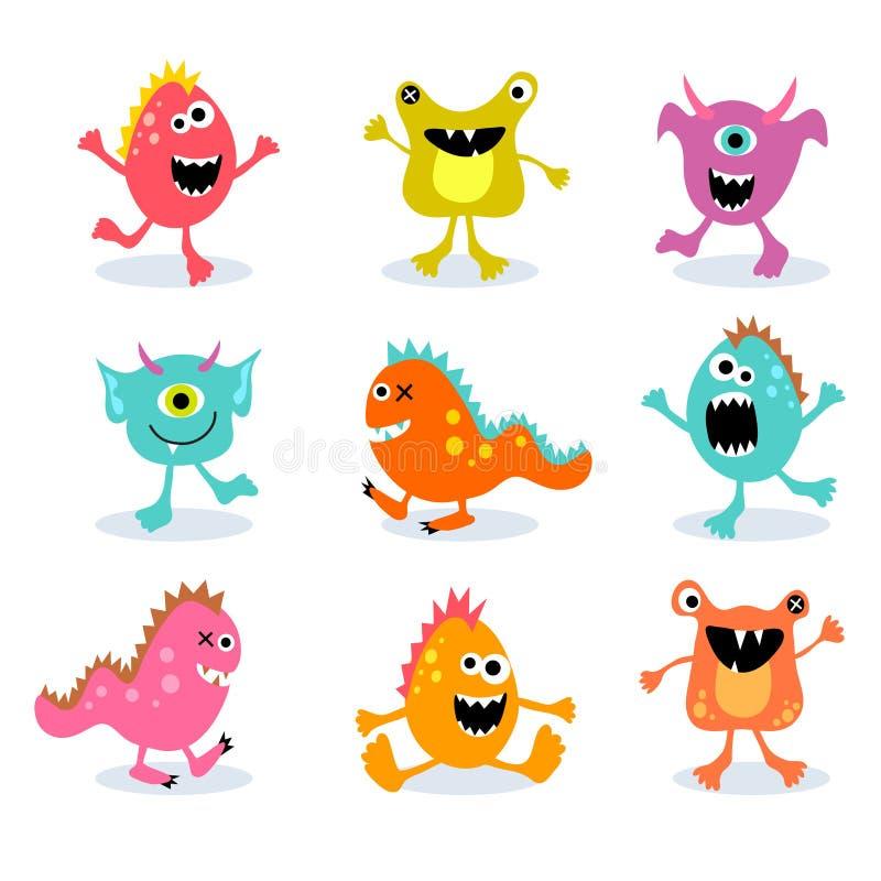 Set śliczni mali potwory 2 ilustracja wektor