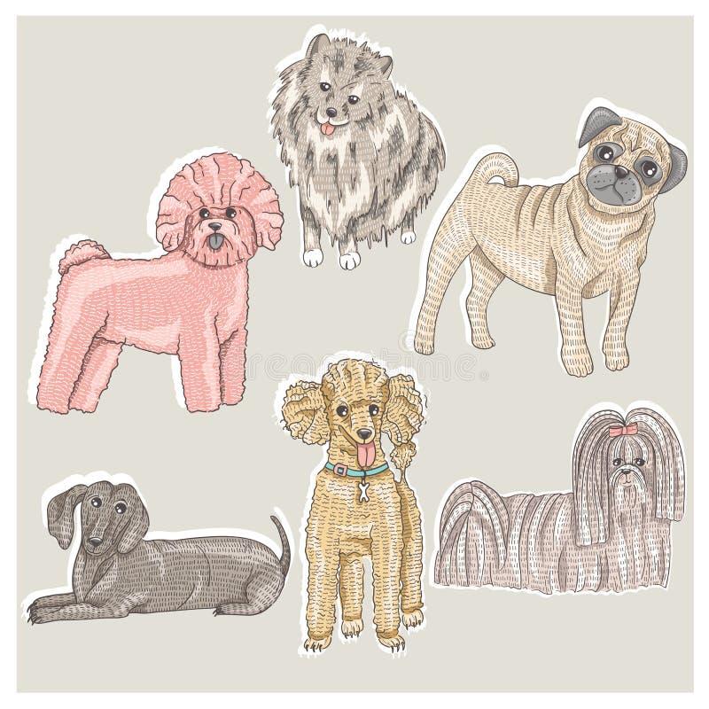 Set śliczni mali trakenów psy ilustracji