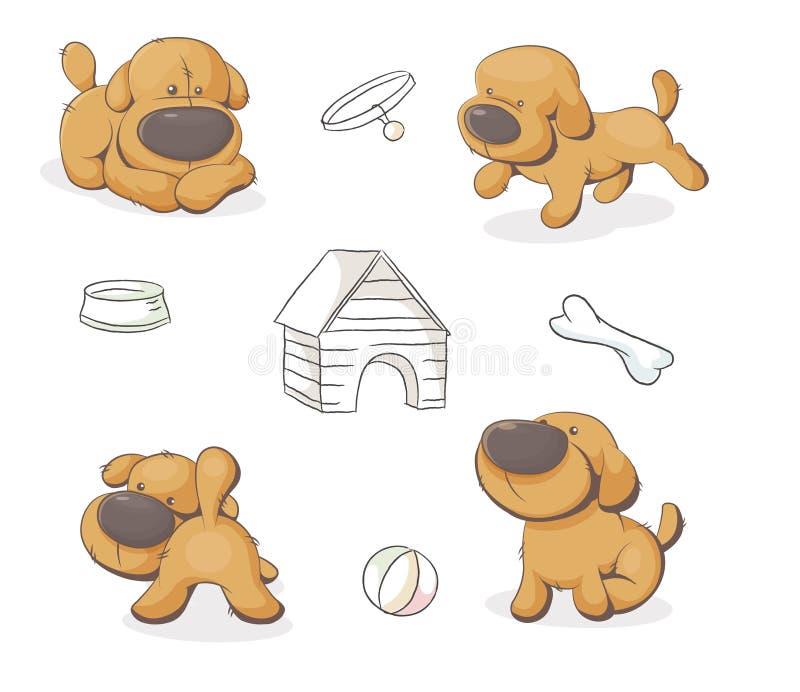 Set śliczni misiów pluszowych psy ilustracja wektor
