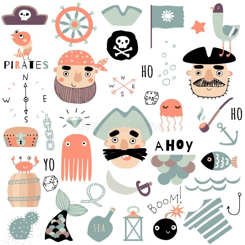 Set śliczni piraccy i nautyczni elementy Ręka rysująca wektorowa ilustracja ilustracji