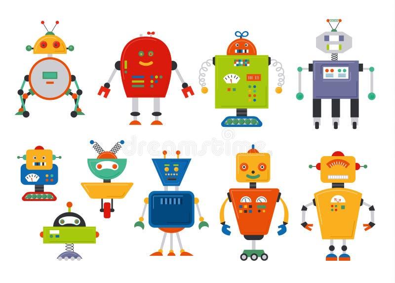 Set śliczni rocznik kreskówki roboty royalty ilustracja