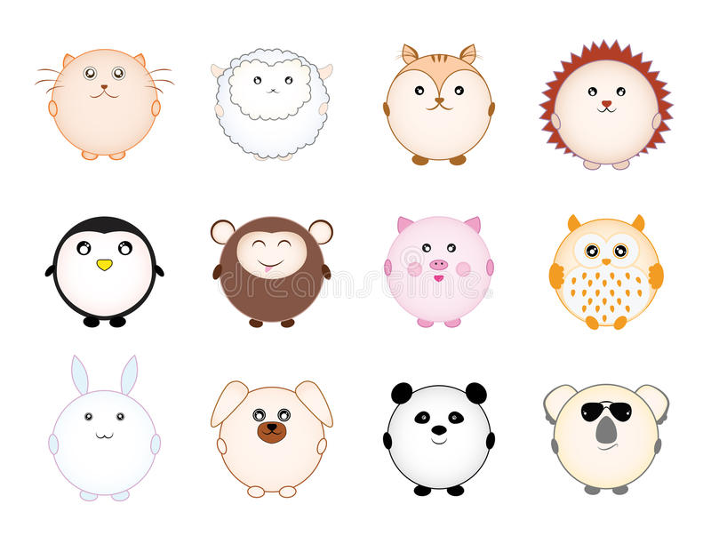 Set śliczni round kreskówek zwierzęta ilustracja wektor