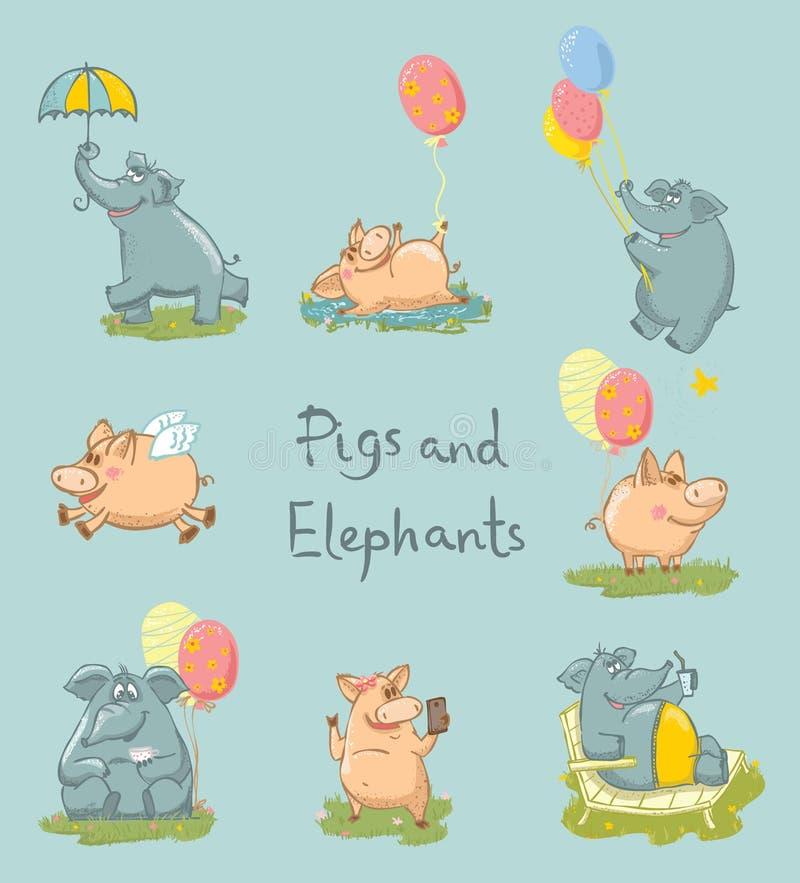 Set śliczni słonie i świnie dla kartka z pozdrowieniami royalty ilustracja
