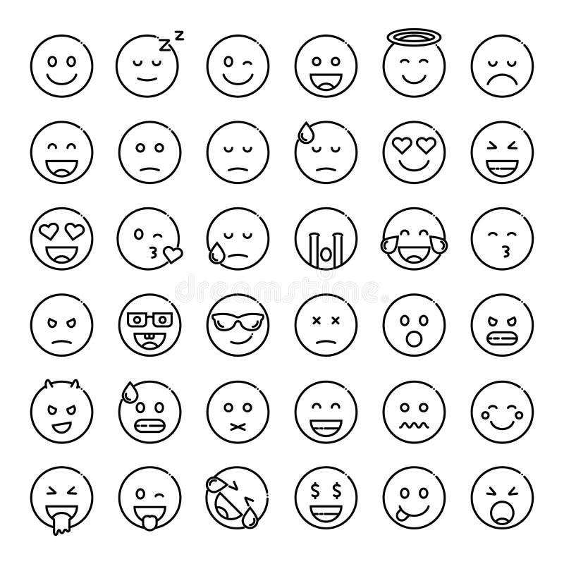 Set śliczni smiley emoticons ilustracji