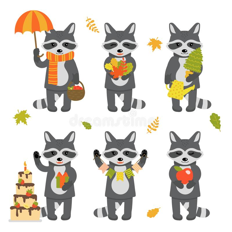 Set śliczni szopowi charaktery odizolowywający na białym tle Kolekcja jesień charaktery Wektorowa ilustracja w ilustracja wektor