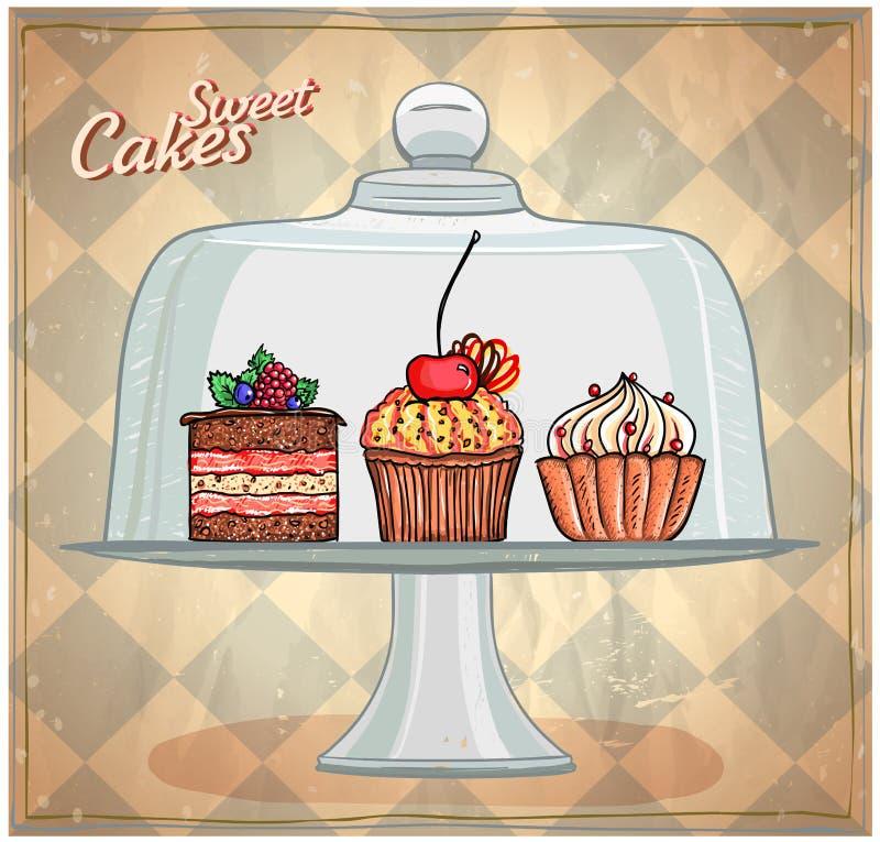 Set śliczni torty pod szklaną kopułą ilustracja wektor