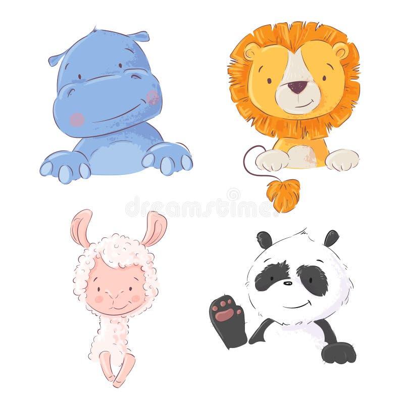 Set śliczni tropikalni zwierzęta hipopotamy, lew, lama i panda, wektorowa ilustracja w kreskówka stylu ilustracji